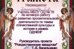 Проект «Рождественские звездочки»,  2019 год.